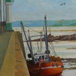 Peinture d'un bateau dans le port de Saint-Quay Portrieux