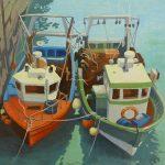 Bateaux à quai, 2014, Toile sur châssis, huile, 35 cm x 27 cm
